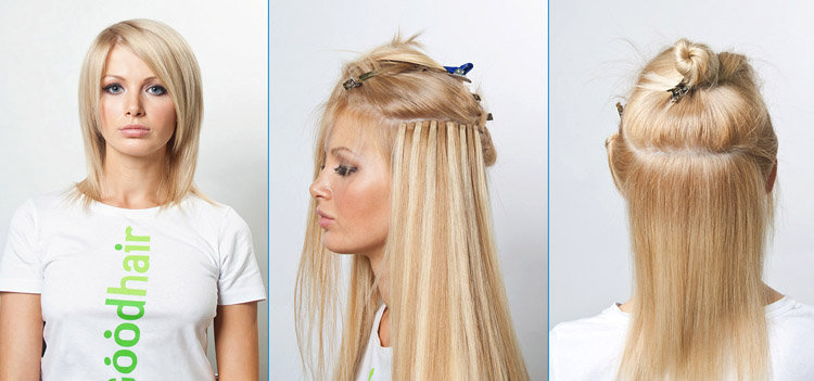 Как сделать прическу на нарощенные волосы фото