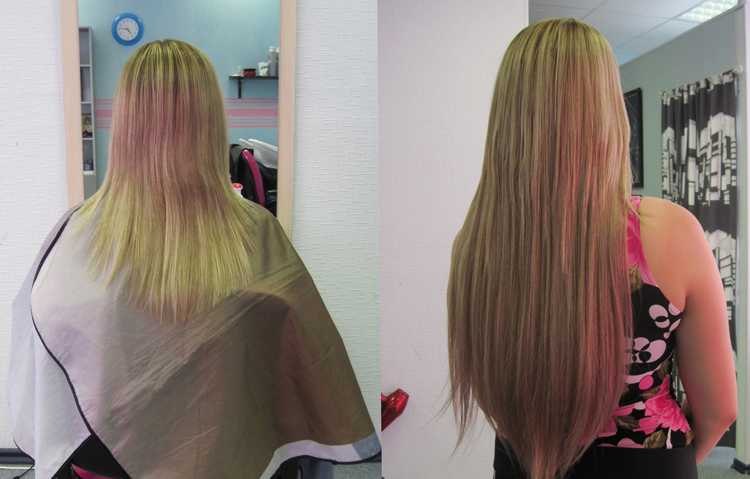 Наращивание волос двух цветов