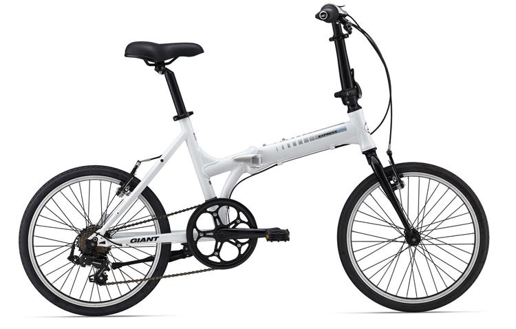 Бело-черный складной велосипед