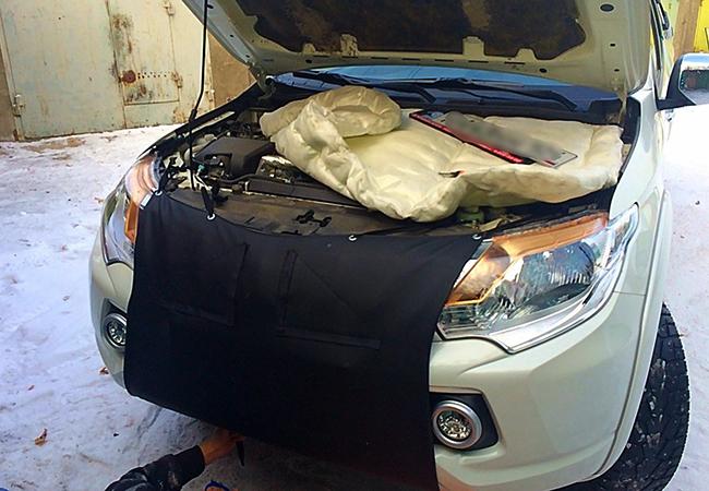 Процесс утепления двигателя