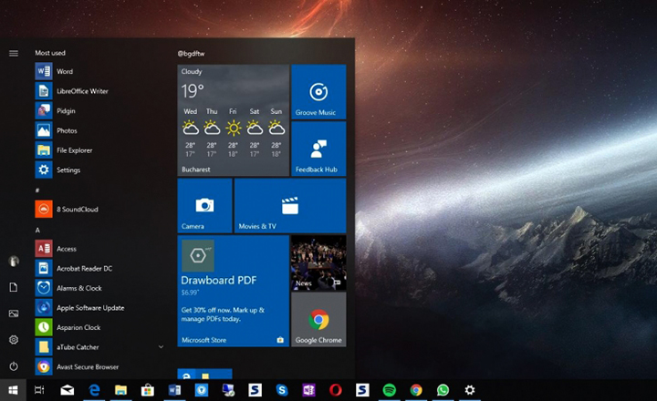 Вид ОС Windows 10