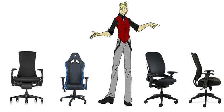 Высокий человек и кресла