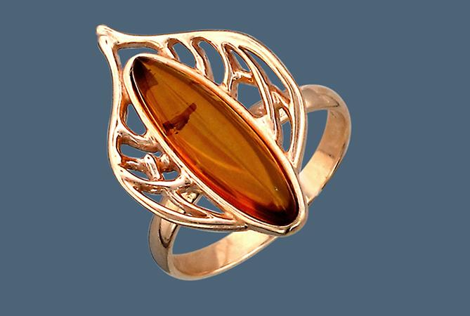 Красивое кольцо с позолотой