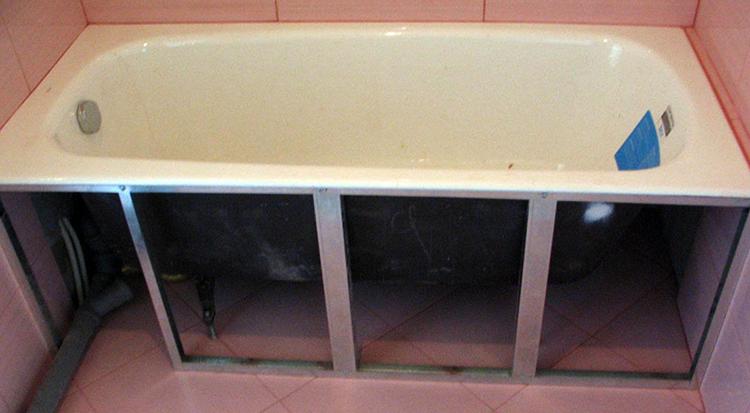 Под ванной плитка