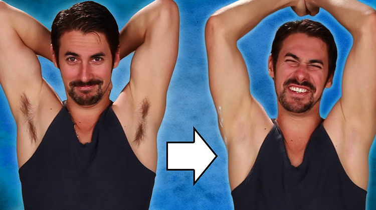 До и после бритья подмышек