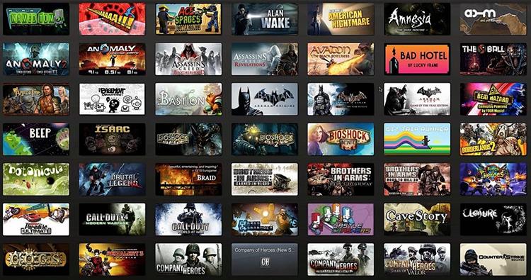 Выбор игр в Steam