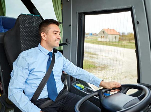 Счастливый водитель автобуса