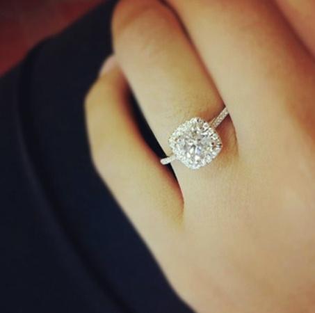 Кольцо с бриллиантом на руке