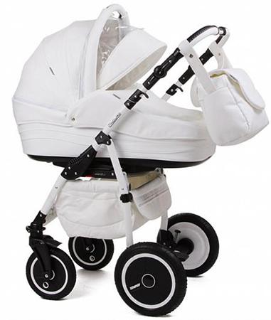 Белая коляска из экокожи