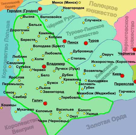 Галицко-Волынское княжество на карте