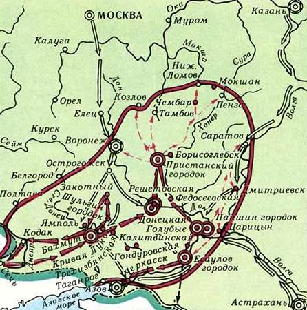 Восстание Булавина на карте