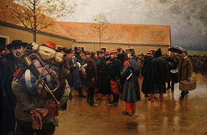Французские резервисты во время призыва