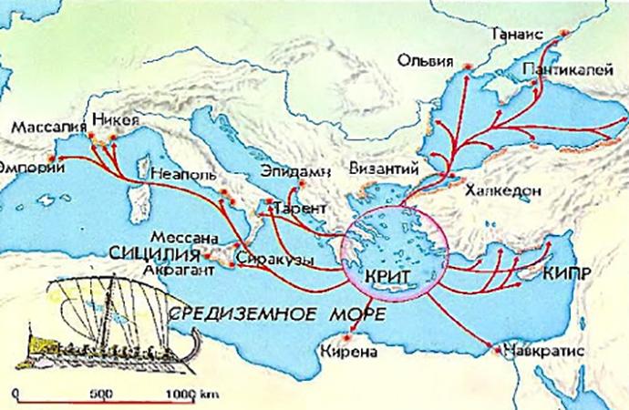 Греческая колонизация на карте