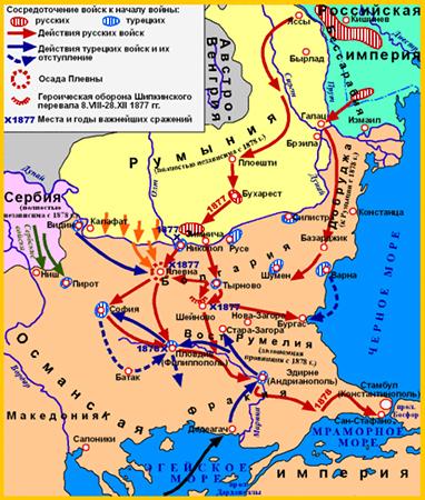 Карта русско-турецкой войны 1877-1878 гг