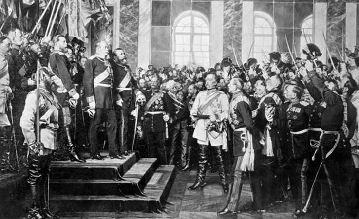 Коронация прусского короля Вильгельма I как германского императора, Версаль, Франция, 1871 г.